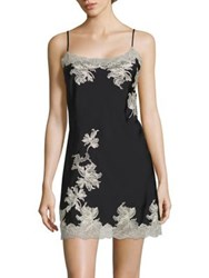 Natori Chantilly Floral Lace Chemise Black