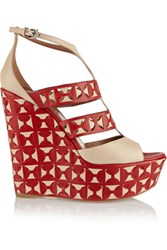 Alaia Laser Cut Leather Wedge Sandals Claret