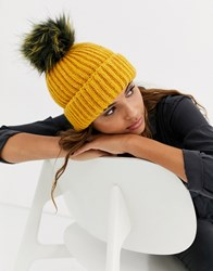 Topshop Beanie Hat With Faux Fur Pom Pom In Mustard Pink
