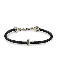 Saks Fifth Avenue Sterling Silver And Leather Braided Bracelet Silver Black