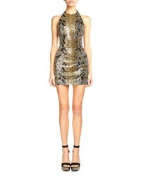Balmain Sequined Snake Pattern Mini Dress Black Gold Black Gold