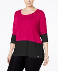Calvin Klein Plus Size Colorblocked Dolman Top Winter Rose