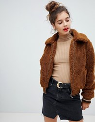 Bershka Fur Bomber Jacket In Brown