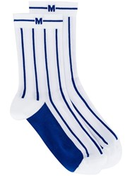 Msgm Striped Socks Blue