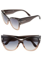 Women's Tom Ford 'Anoushka' 57Mm Gradient Sunglasses Grey Peach Gradient Grey