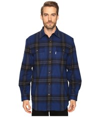 Carhartt Hubbard Plaid Shirt Dark Cobalt Blue Men's Long Sleeve Button Up