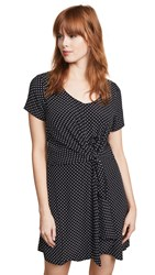 Three Dots Polka Dot Tie Front Dress Black Cream