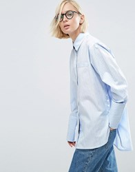 Asos Stripe Cotton Shirt With Double Cuff And Button Side Blue White Multi