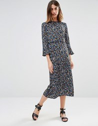 Warehouse Ditsy Floral Midi Dress Multi