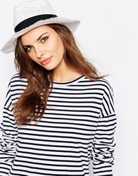 Aldo Straw Panama Hat With Textued Band White