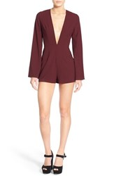 Women's Missguided Plunge Bell Sleeve Romper