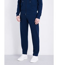 Canali Marl Effect Fleece Wool Tracksuit Trousers Navy