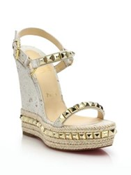 Christian Louboutin Cork And Leather Platform Wedge Sandals