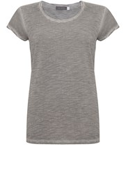 Mint Velvet Steel Woven Sleeve Tee Grey