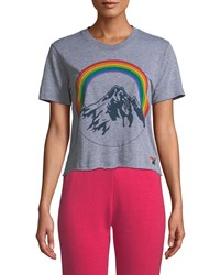 Aviator Nation Mountain Rainbow Cropped Boyfriend Tee Gray