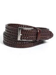 Black Brown Woven Leather Belt Brown