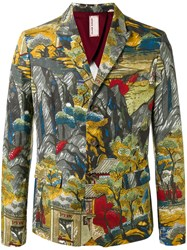Antonio Marras Landscape Allover Print Blazer Green