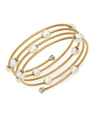Alor Classique 1.6Mm White Round Freshwater Pearl 18K Yellow Gold And Stainless Steel Bracelet