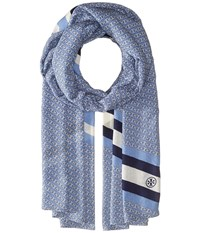 Tory Burch Gemini Link Striped Oblong Montego Blue Navy Sea Scarves