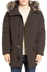 Michael Kors Men's Faux Fur Trim Down And Feather Fill Snorkel Parka Dark Chocolate