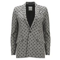 Each X Other Women's Prince Of Wales With Polka Dots Print Blazer Black White