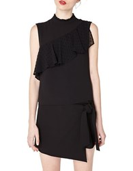 Miss Selfridge Asymmetric Dobby Frill Shell Black