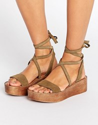 Asos Truthful Suede Tie Leg Wedges Khaki Green