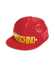 Moschino Quilted Leather Logo Cap Red