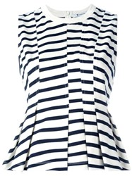 Alexander Wang T By Striped Peplum Top White