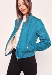 Missguided Faux Shearling Lined Bomber Jacket Blue