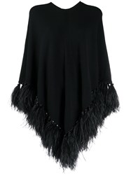 Valentino Feather Trimmed Poncho 60
