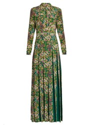 Gucci Pleated Floral Print Silk Crepe De Chine Dress Green Multi