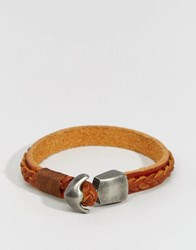 Jack And Jones Leather Bracelet With Plaited Detail Brown