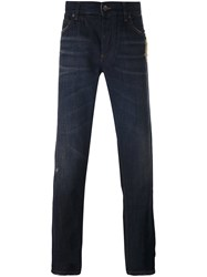 Dolce And Gabbana Pocket Watch Embroidered Jeans Blue