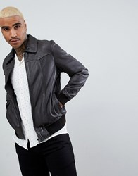 Goosecraft Zagreb Leather Bomber Jacket In Brown