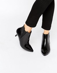 Park Lane Point Mid Heeled Ankle Boots Black Patent