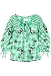 Innika Choo Smocked Embroidered Gingham Cotton Blouse Green