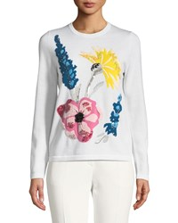 Escada Embroidered Floral Virgin Wool Pullover Sweater Off White