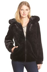 Women's Gallery Grooved Faux Fur Hooded Jacket Black