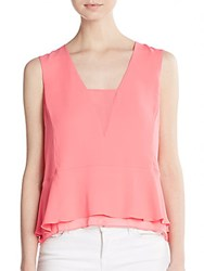 Bcbgmaxazria Amerly Georgette Blouse Pink Coral