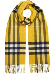 Burberry The Classic Check Cashmere Scarf Yellow And Orange