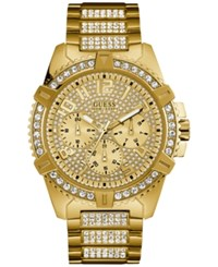 Guess Men's Crystal Gold Tone Stainless Steel Bracelet Watch 46Mm U0799g2