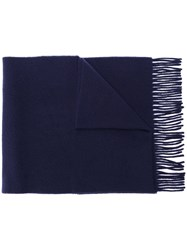 Polo Ralph Lauren Logo Embroidered Scarf Blue