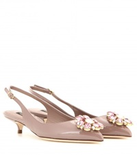 Dolce And Gabbana Bellucci Embellished Patent Leather Slingback Pumps Beige
