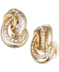 Anne Klein Crystal Knot Stud Clip On Earrings Gold