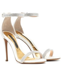 Alexandre Vauthier Embellished Satin Sandals White