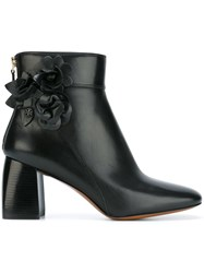Tory Burch Floral Detail Ankle Boots Black