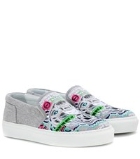 Kenzo Embroidered Slip On Sneakers Grey