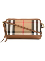 Burberry House Plaid Pattern Zip Detail Cross Body Bag Nude And Neutrals