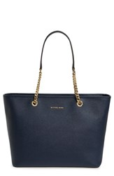Michael Michael Kors 'Jet Set Travel Chain Multifunction' Leather Tote Blue Navy Gold